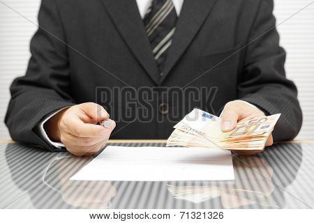 Banker Offering Money If You Sign Contract