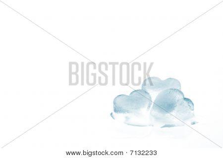 Three Melting Ice Hearts