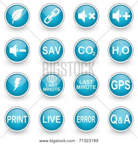 glossy circle web icons set on white background