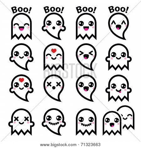 Kawaii cute ghost for Halloween icons set