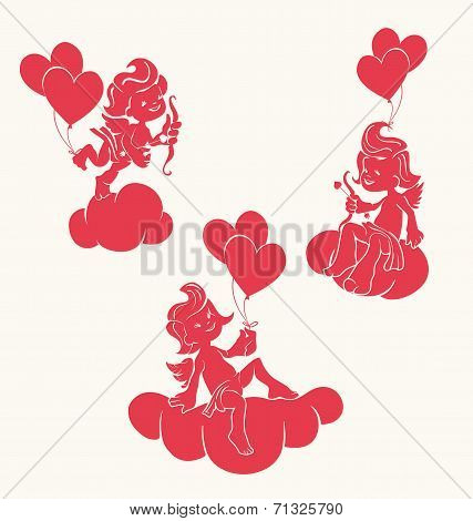 silhouette of loughint cupid with bow and arrow
