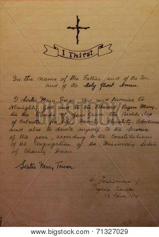 SKOPJE, MACEDONIA - MAY 17: Vows of Mother Teresa written in her hand exposed in Memorial House in Skopje, Macedonia on May 17, 2013