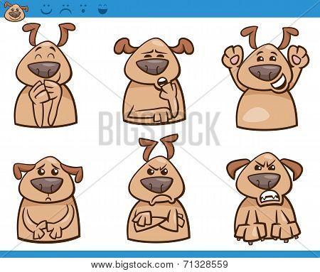 Dog Emotions Cartoon Illustration Set
