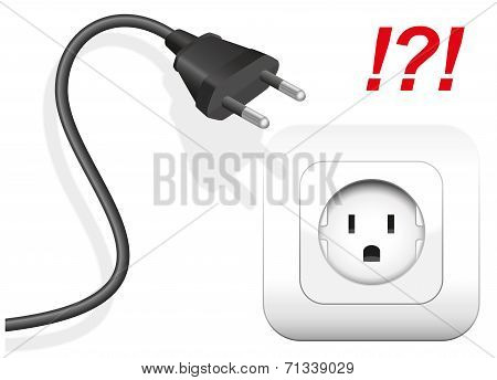 Socket and plug that are not compatible. The plug has round metal pins, but the socket is applied for flat pins. Isolated vector illustration on white background. poster