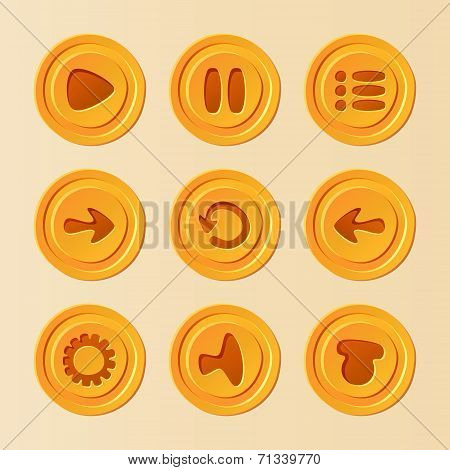 Game UI - vector set of buttons for mobile game