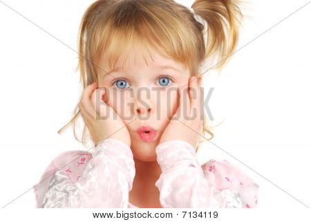 Little Girl With Funny Face.