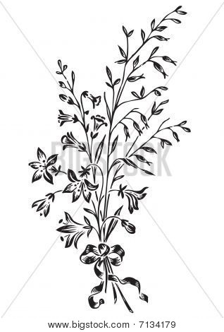 antique flowers engraving (vector)