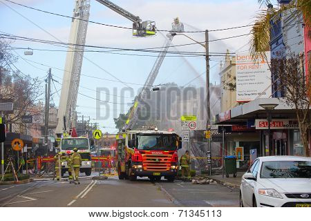 Firemen Douse Flames After Explosion  In Rozelle