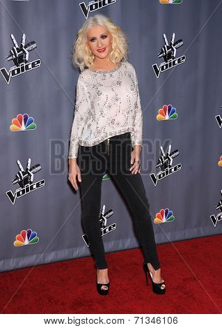 LOS ANGELES - NOV 07:  CHRISTINA AGUILERA arrives to the The Voice Season 5-Top 12  on November 7, 2013 in Universal City, CA