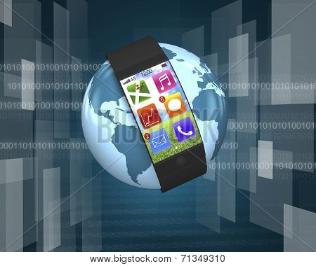 Ultra Slim Curved-screen Smart Watch With Apps On Globe