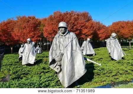 WASHINGTON DC - NOV 03: Korean War Veterans Memorial located in National Mall in Washington DC on NOV 3, 2013. The Memorial commemorates those who served in the Korean War.