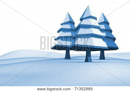 Fir trees on snowy landscape on white background poster