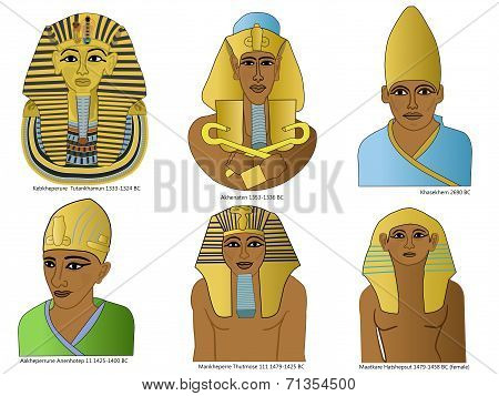 A set of ancient Egyptian pharaohs