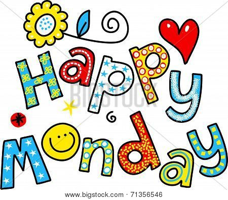 Happy Monday Cartoon Text Clipart