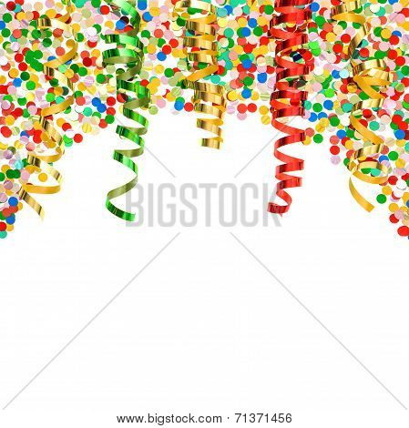 Colorful Confetti With Shiny Streamer Over White