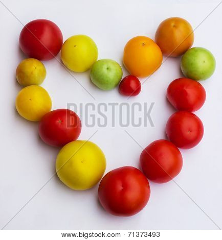 Beautiful heart of tomatos. vegetables