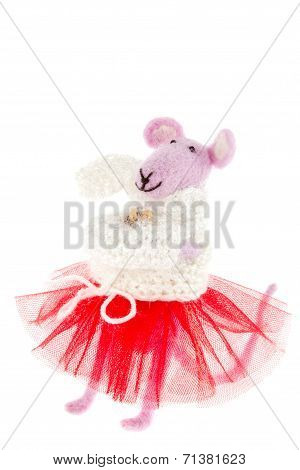 a toy mouse in pink scarf and a red skirt poster
