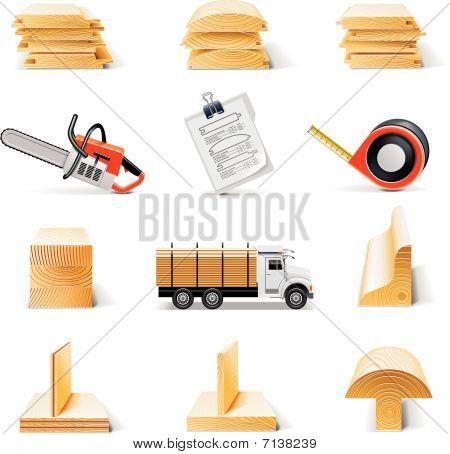 Vector lumber icon set