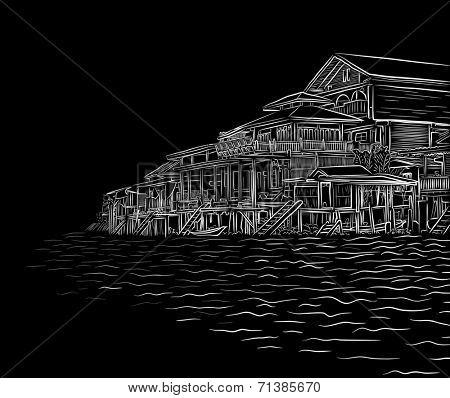 Illustration sketch of waterside wooden buildings