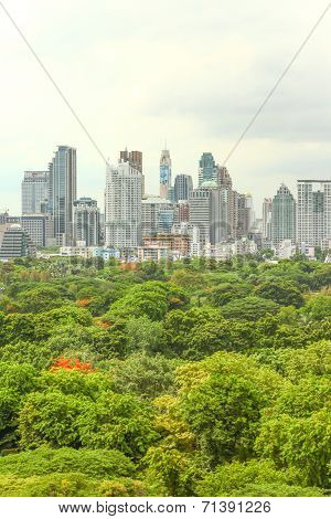 Bangkok skyline over Lumpini park