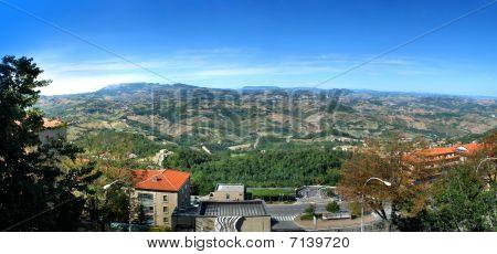 Republic San Marino. ( Serenissima Repubblica di San Marino) Architecture and landscape. Panoramic view poster