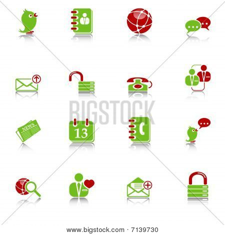 Social media & blog icons, green-red series