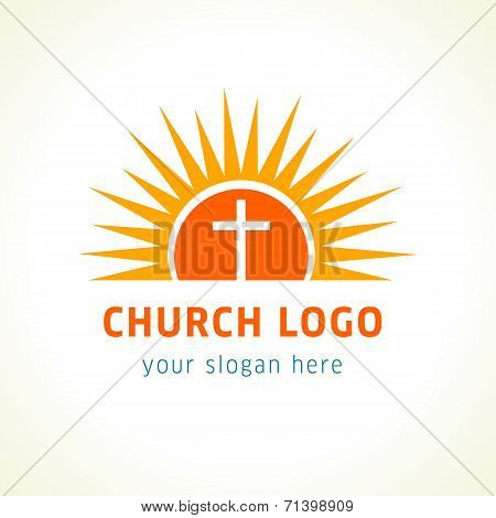 Template logo for churches and Christian organizations cross on the sun