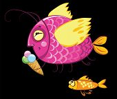 cartoon characters, icecream eating gourmand fish and hungry envy one poster