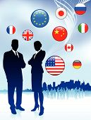 Business Couple on internet flag buttons background Original Vector Illustration poster