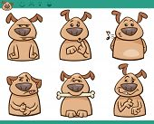 Cartoon Illustration of Funny Dogs Expressing Emotions Set poster