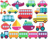 Vector Collection of Cute Patchwork Style Transportation Images poster