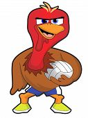 A crazy cartoon turkey holding a volleyball poster