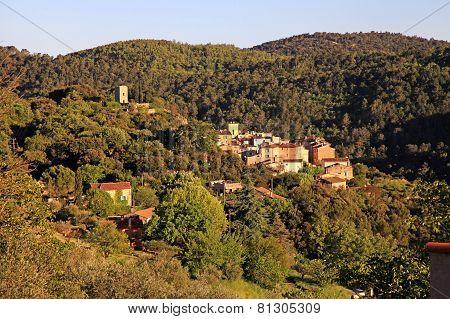 View on medieval village with forest hills landscape, Provence, France. Sunrise light poster