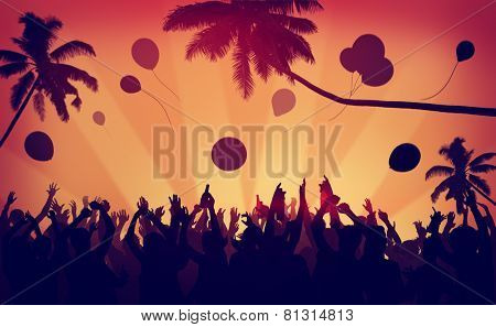 People Crowd Party Celebration Drinks Arms Raised Concept poster
