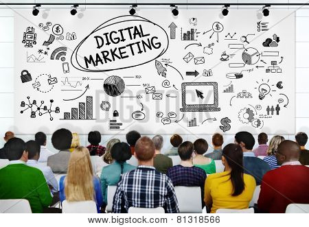 People Seminar Conference Digital Marketing Strategy Concept poster