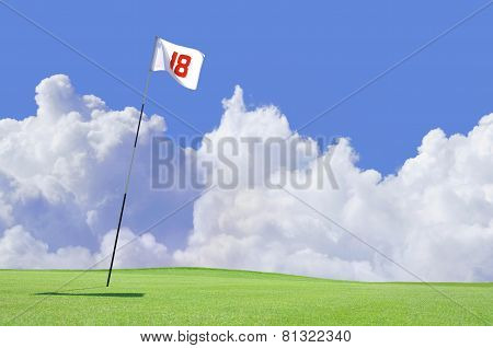 Golf course flag at hole 18