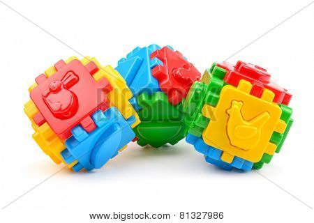 Toys for children isolated on white background.
