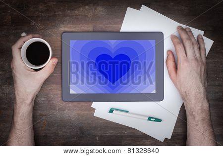 Heart Shape Backgound On Tablet