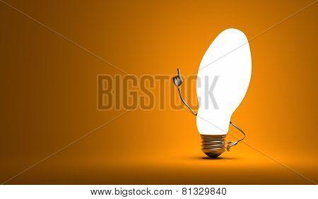 ???ellipsoidal Light Bulb Character In Aha Moment