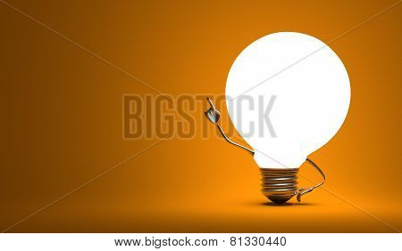 ????globe Light Bulb Character In Aha Moment