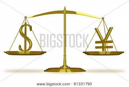 Dollar and yuan sign on golden scales isolated poster