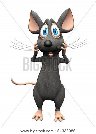 Cartoon Mouse Looking Very Shocked.