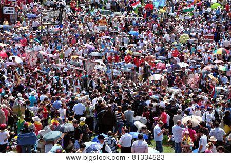 Catholic Pilgrims Celebrating The Pentecost