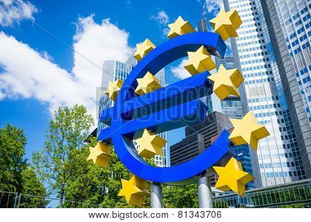Frankfurt, Germany-May 17: Euro Sign. European Central Bank (ECB) is the central bank for the euro and administers the monetary policy of the Eurozone. May 17, 2014 in Frankfurt, Germany.
