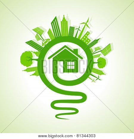 Ecology concept - eco cityscape with light-bulb and home icon stock vector
