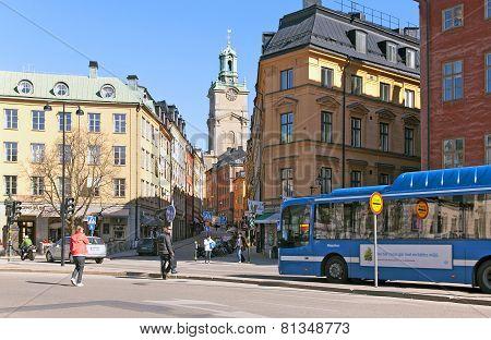 Stockholm. Sweden. Bus on biofuel in Gamla Stan