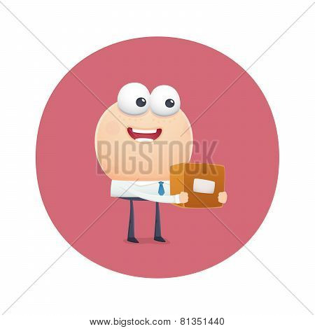 Funny Character Receive The Parcel In The Mail