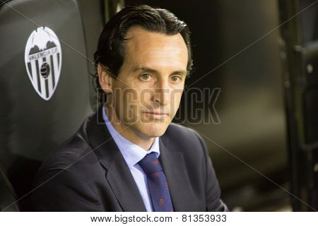 VALENCIA, SPAIN - JANUARY 25: Unai Emery during Spanish League match between Valencia CF and Sevilla FC at Mestalla Stadium on January 25, 2015 in Valencia, Spain