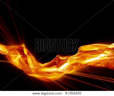 Abstract Glowing Smoke On Black