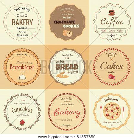 Set of 9 circle bakery labels